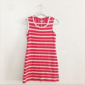 Max studio red dress with embroidered stripes